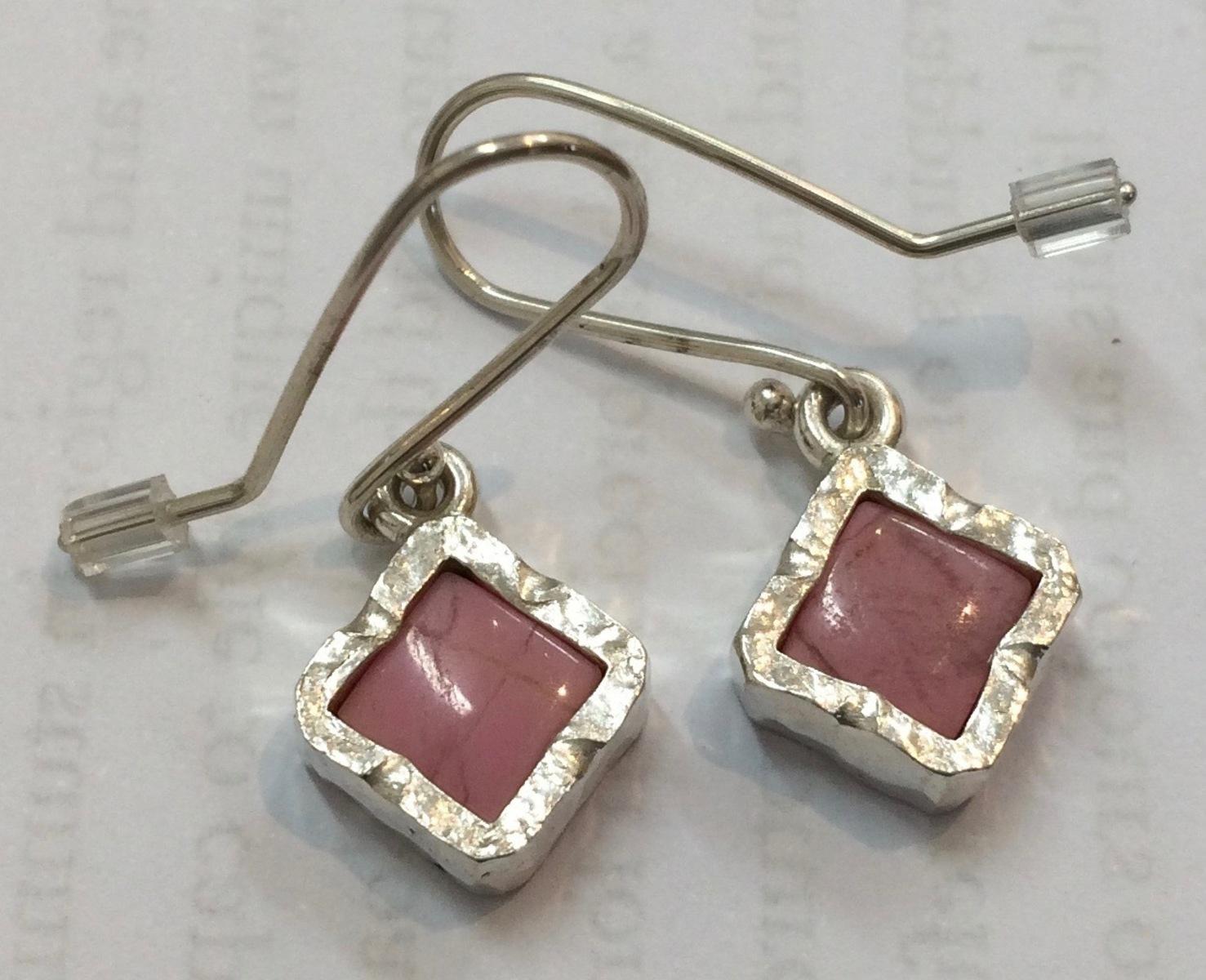 Rhodinite sterling silver drop earrings