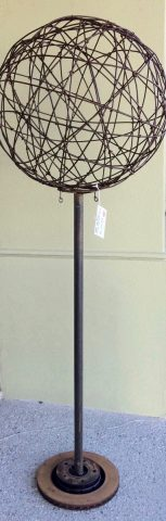 75cm rusty wire ball, pole and base