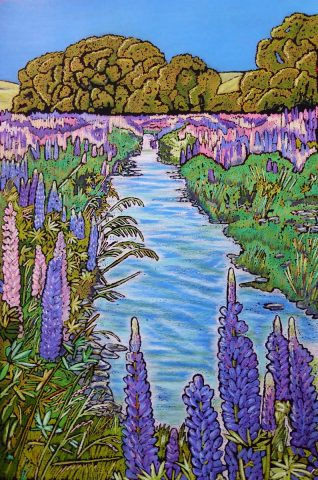 Lupins, Lindis Valley unframed