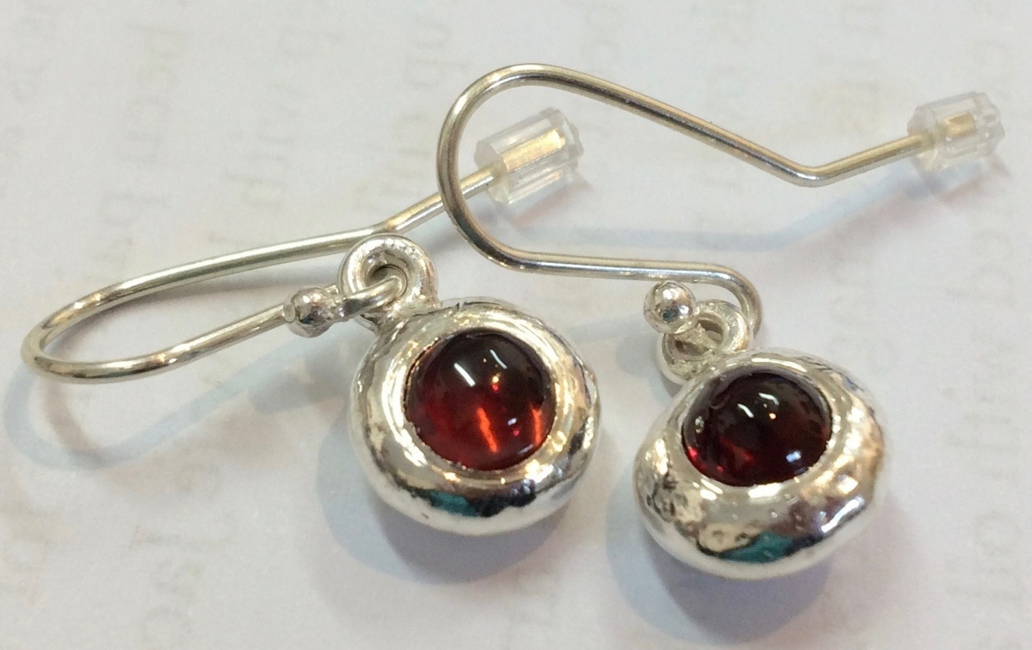 Garnet ingot drop earrings