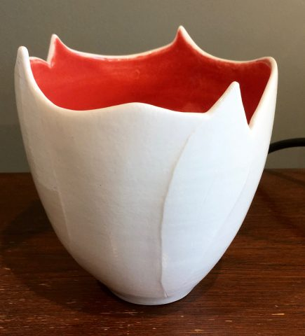 White/Orange Porcelain Bowl