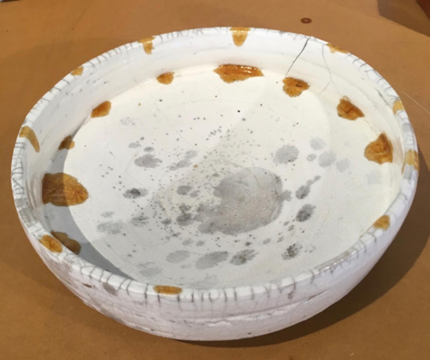 Large White raku bowl