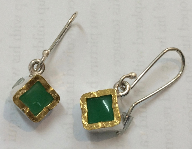 Chrysoprase gold edged sterling silver drop earrings