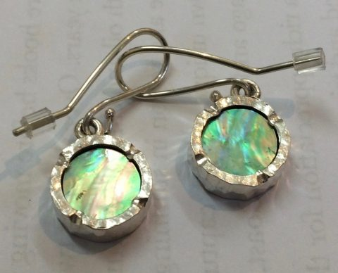 Round paua earrings
