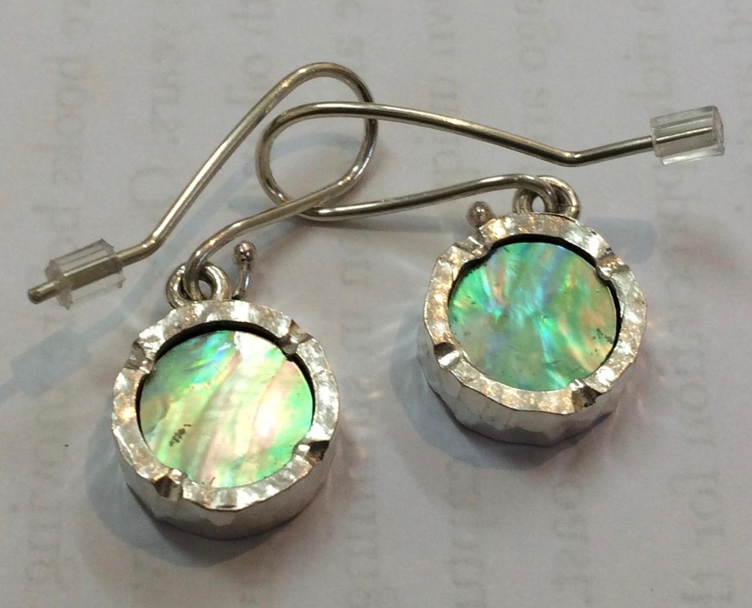 Round paua earrings