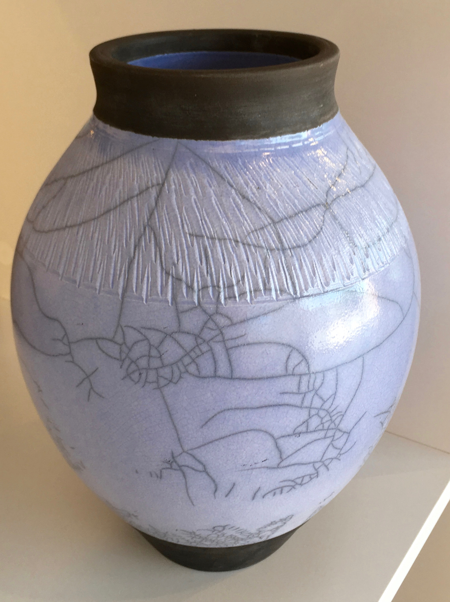 Blue raku crackle vase