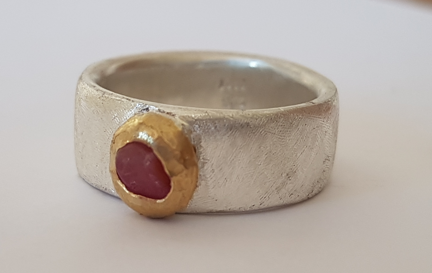 Sterling silver ring with natural sapphire