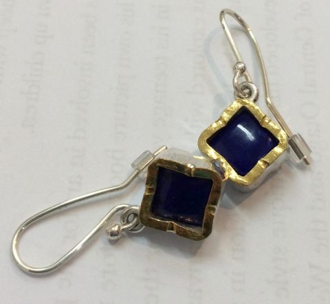 Lapis Lazuli gold edged sterling silver drop earrings