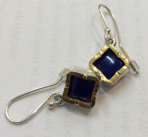 Lapis Lazuli gold edged sterling silver drop earrings