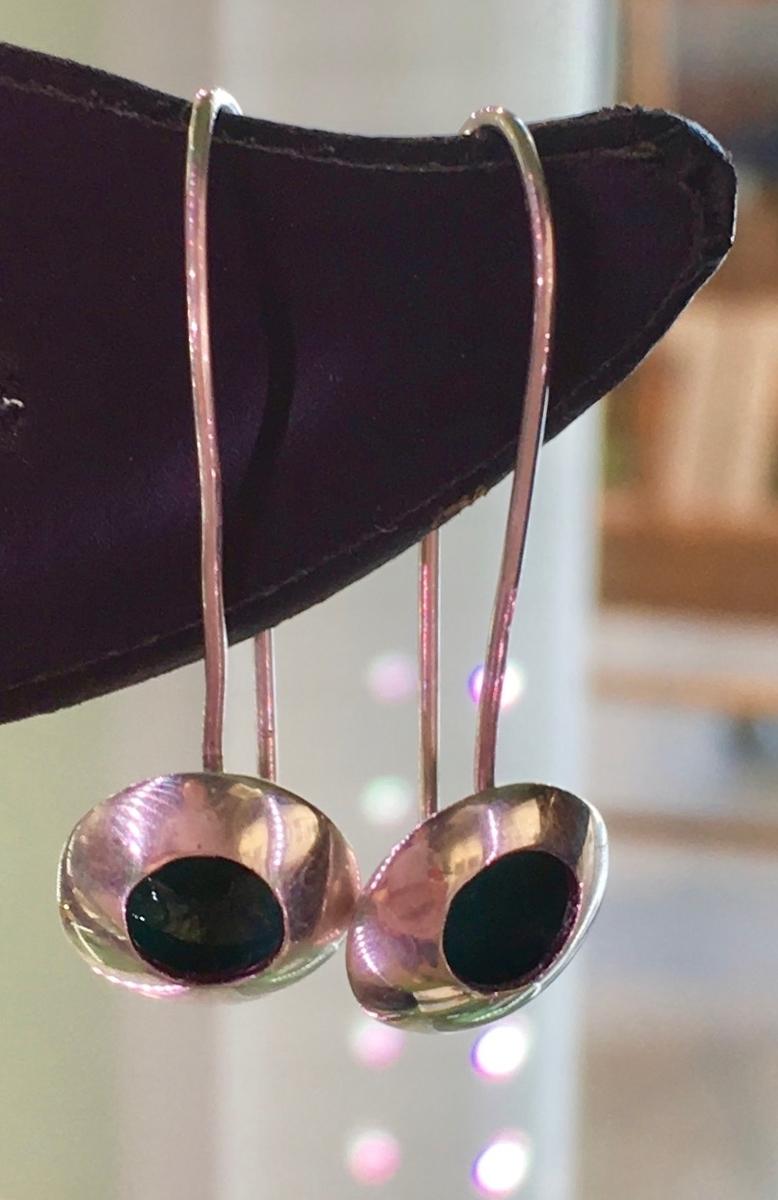 Sterling silver and enamel (pine green) earrings