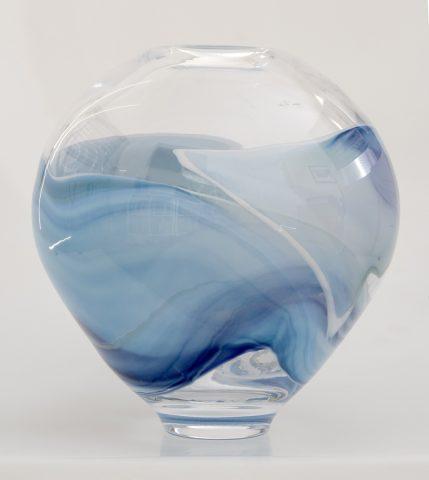 Landscape vase - clear/blue/white