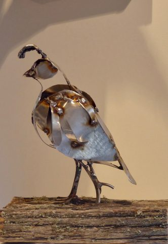 2 Quail on wood base