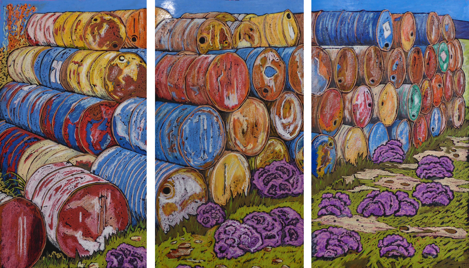 Oil Drums - Tryptic - Outlines Solo Exhibition