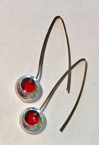 Dark red enamel drop earrings