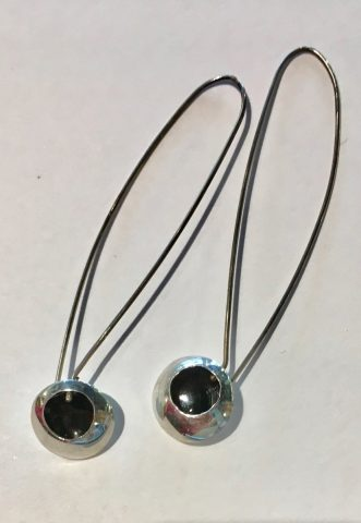 Long black enamel drop earrings