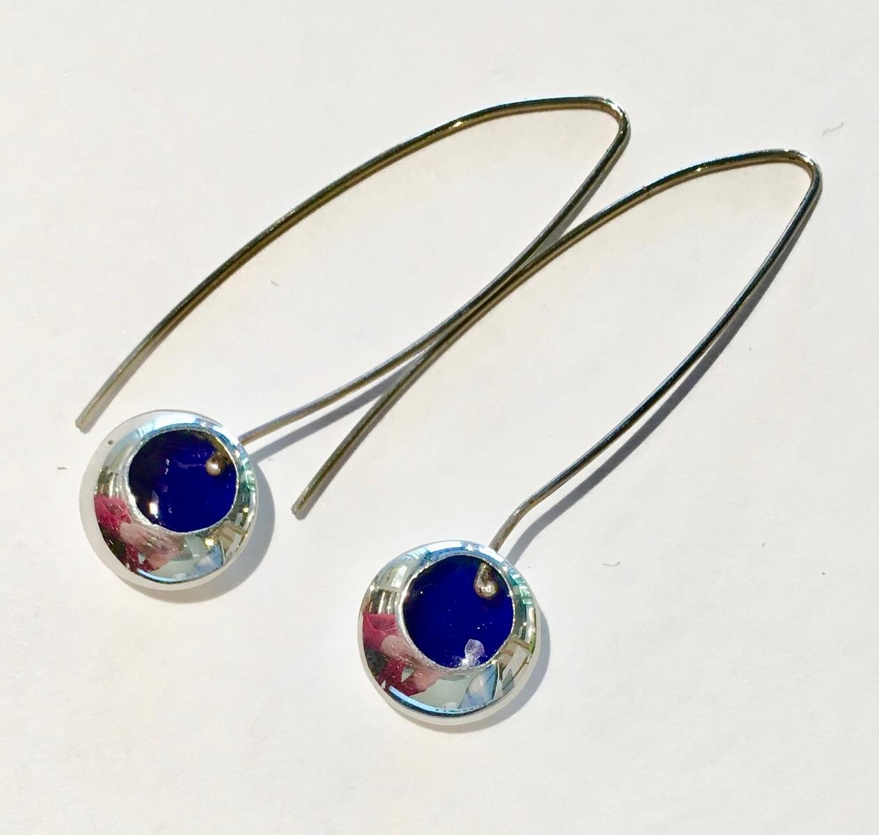 Dark blue enamel drop earrings