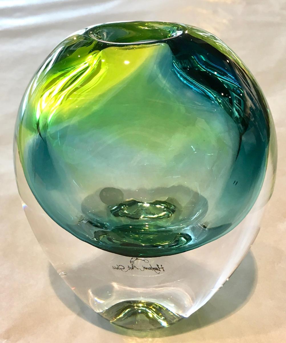 Eclipse Vase - lime/steel blue