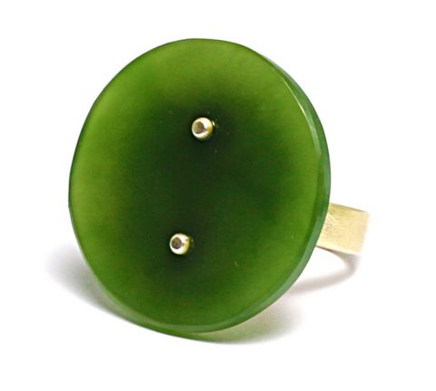 Pounamu and sterling silver ring (NA75)