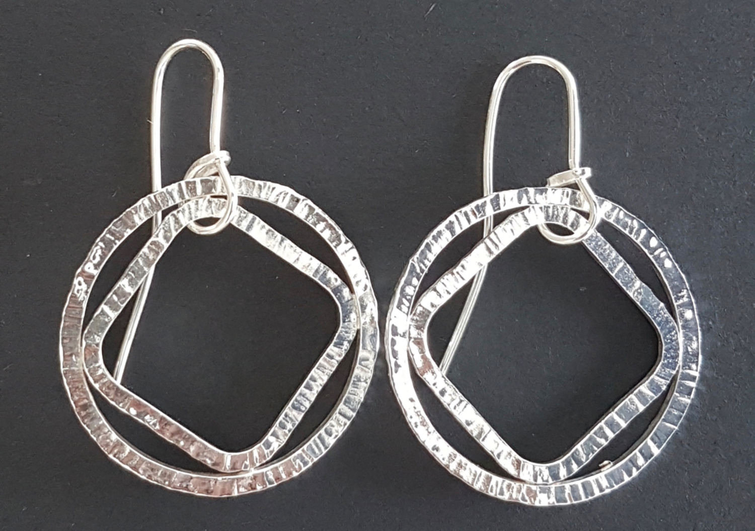 Forged Loop and Diamond earrings (L)