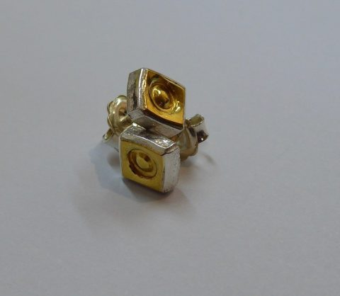 Circle in Square stud earrings