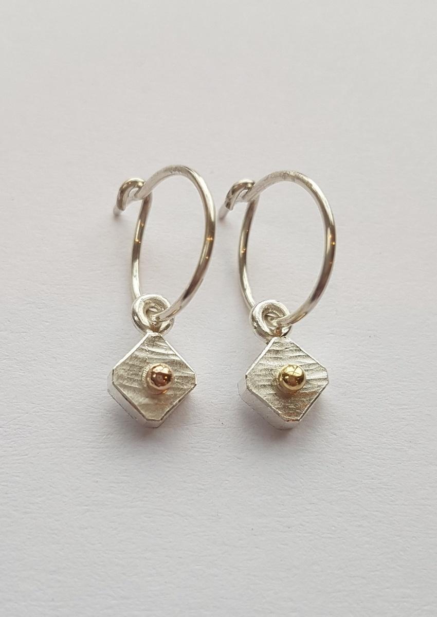 Diamond shape fine sterling silver + 18ct gold loop earrings - 0072