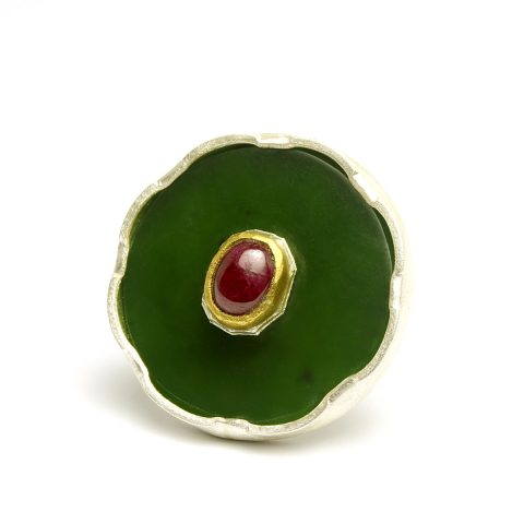 Pounamu, sterling silver, 24ct gold and ruby ring NA79