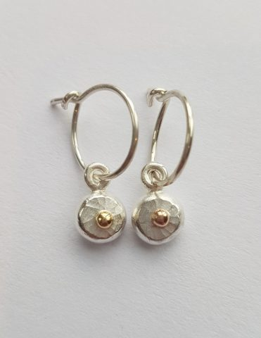Round shape fine sterling silver + 18ct gold loop earrings - 0073