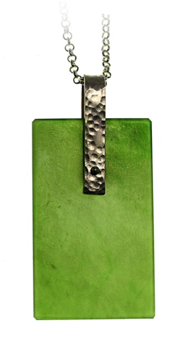 Pounamu and sterling silver pendant NA83
