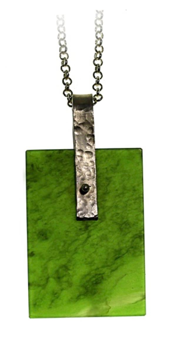 Pounamu and sterling silver pendant NA81