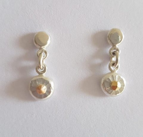 Round fine sterling silver + 18ct gold earrings - 0070