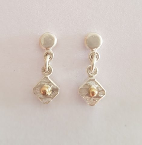 Diamond shape fine sterling silver + 18ct gold earrings - 0071