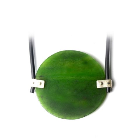 Pounamu, sterling silver and rubber pendant NA107