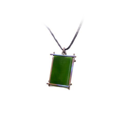 Pounamu and Titanium pendant NA102