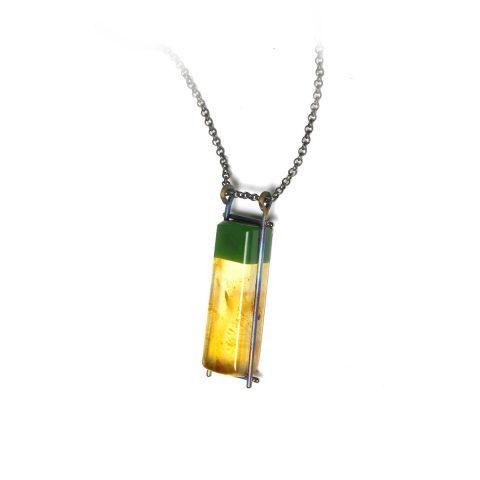 Pounamu, Kauri Gum and Titanium pendant NA109