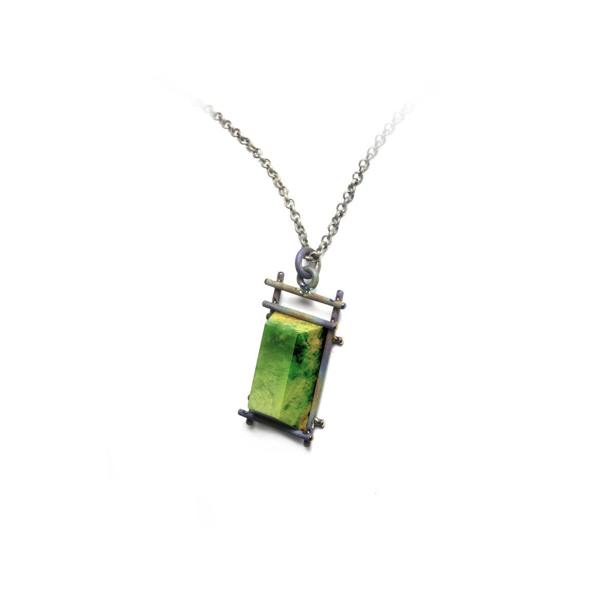 Pounamu and Titanium pendant NA104