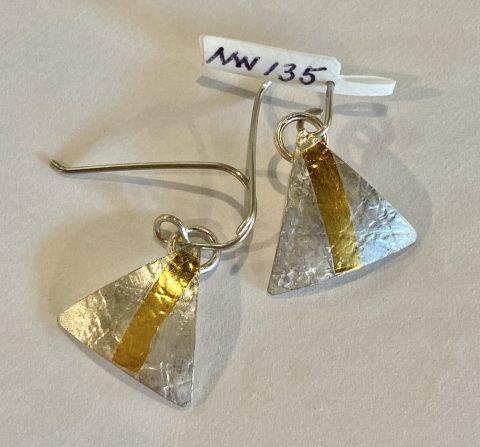 Domed triangle earrings