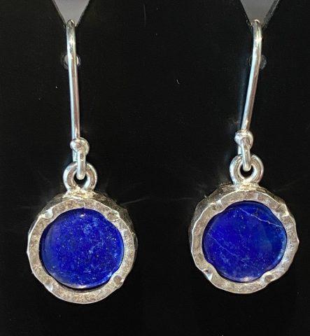 Lapis round sterling silver drop earrings