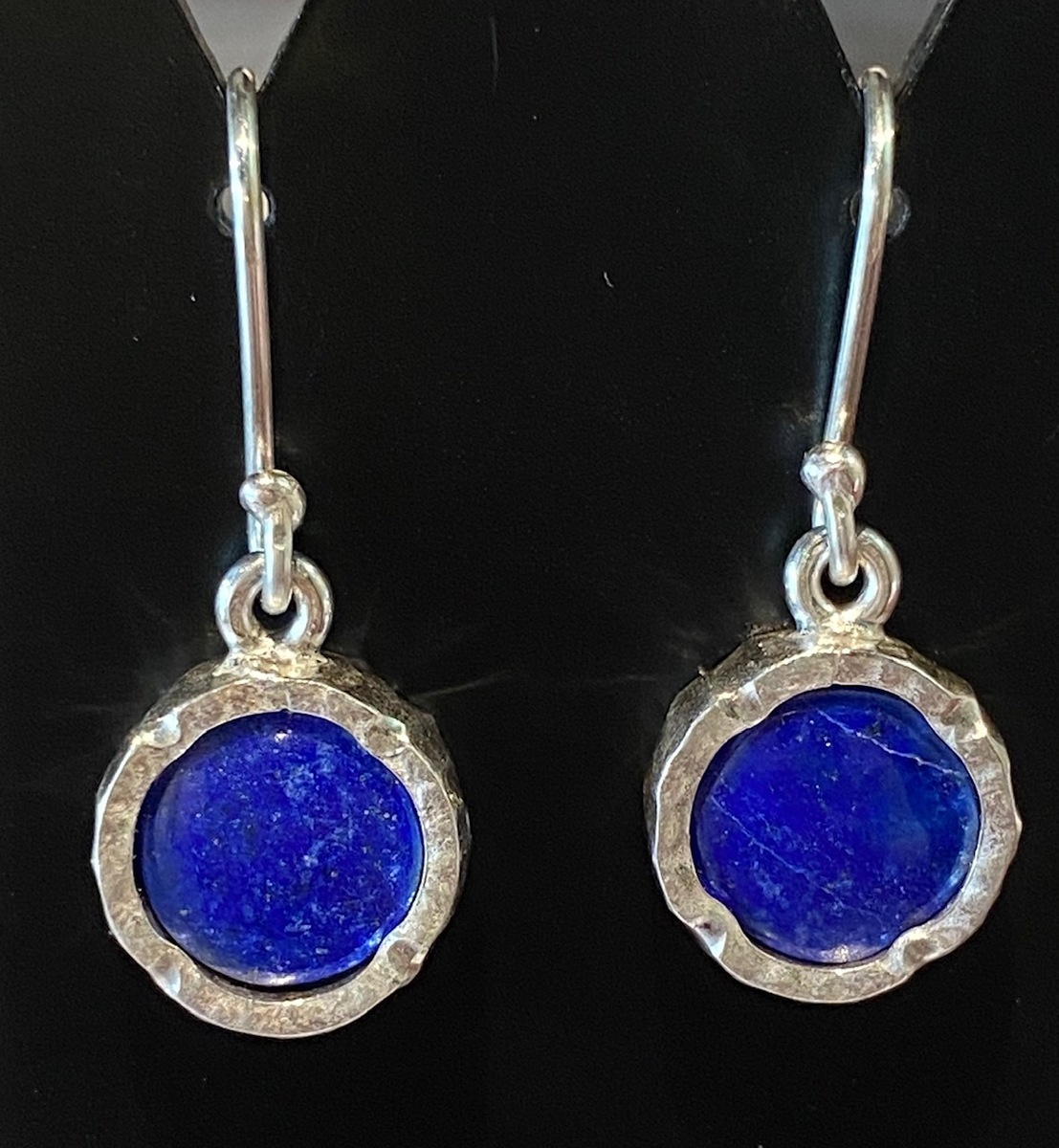 Lapis round sterling silver drop earrings