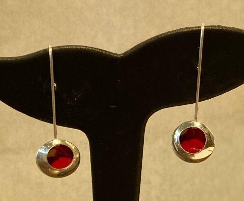 Medium RED enamel drop earrings