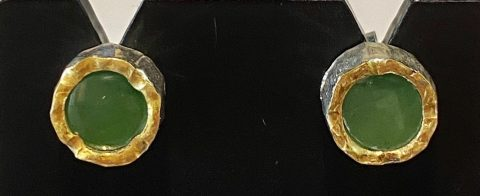 Pounamu with gold edged sterling silver stud earrings
