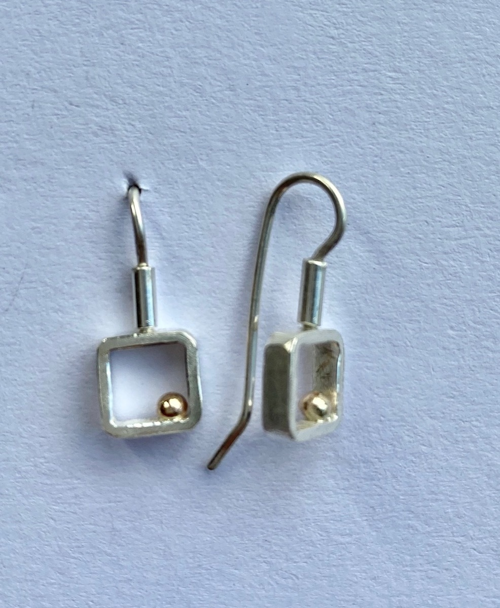Square frame sterling silver + 18ct gold ball earrings (small) - 0076