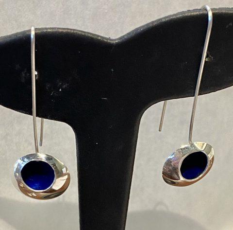 Long BLUE enamel drop earrings