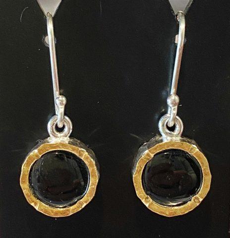 Black Jade with gold edge sterling silver drop earrings