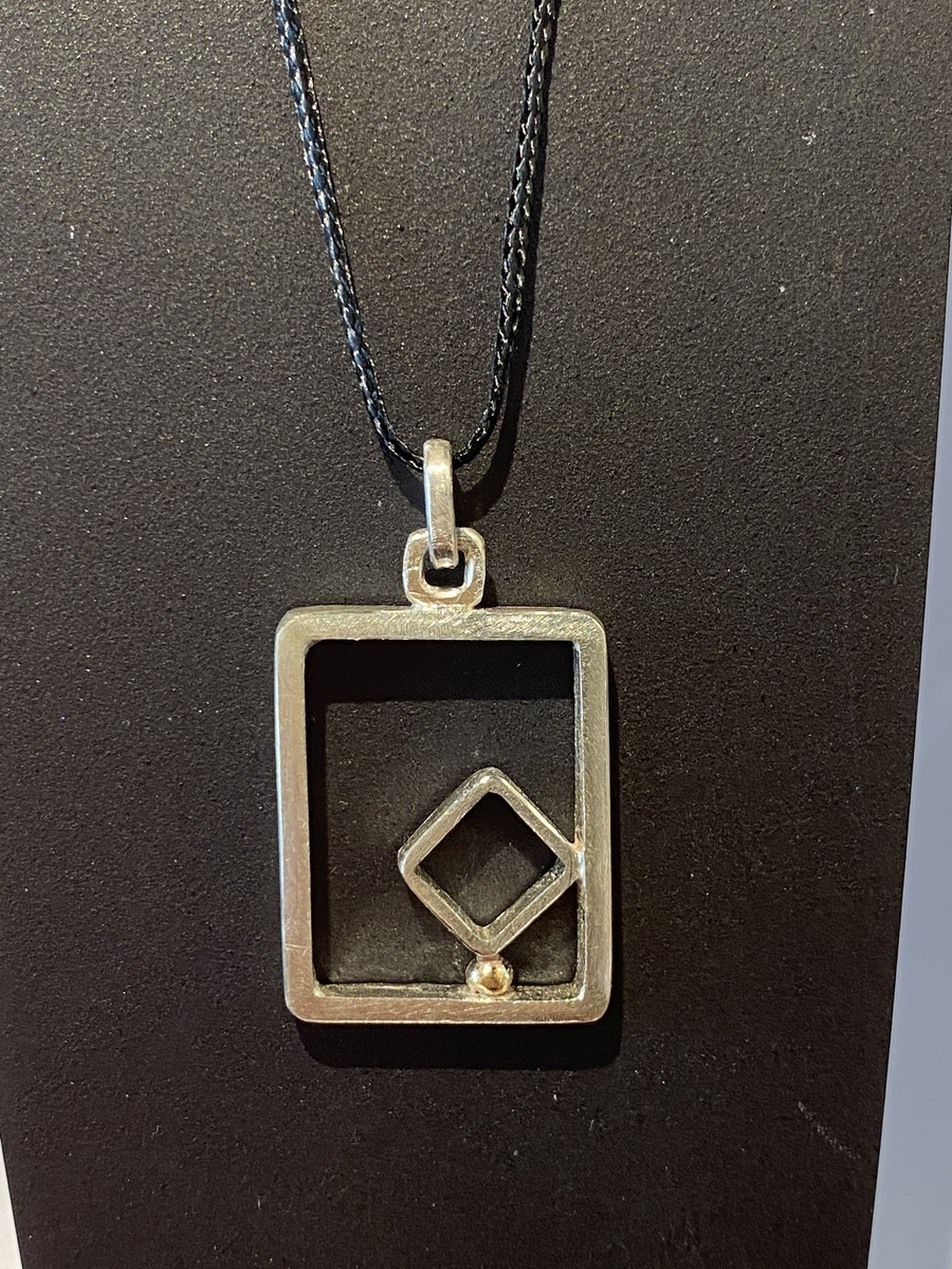 Square frame with gold ball pendant (small) - GOLD BALL SERIES