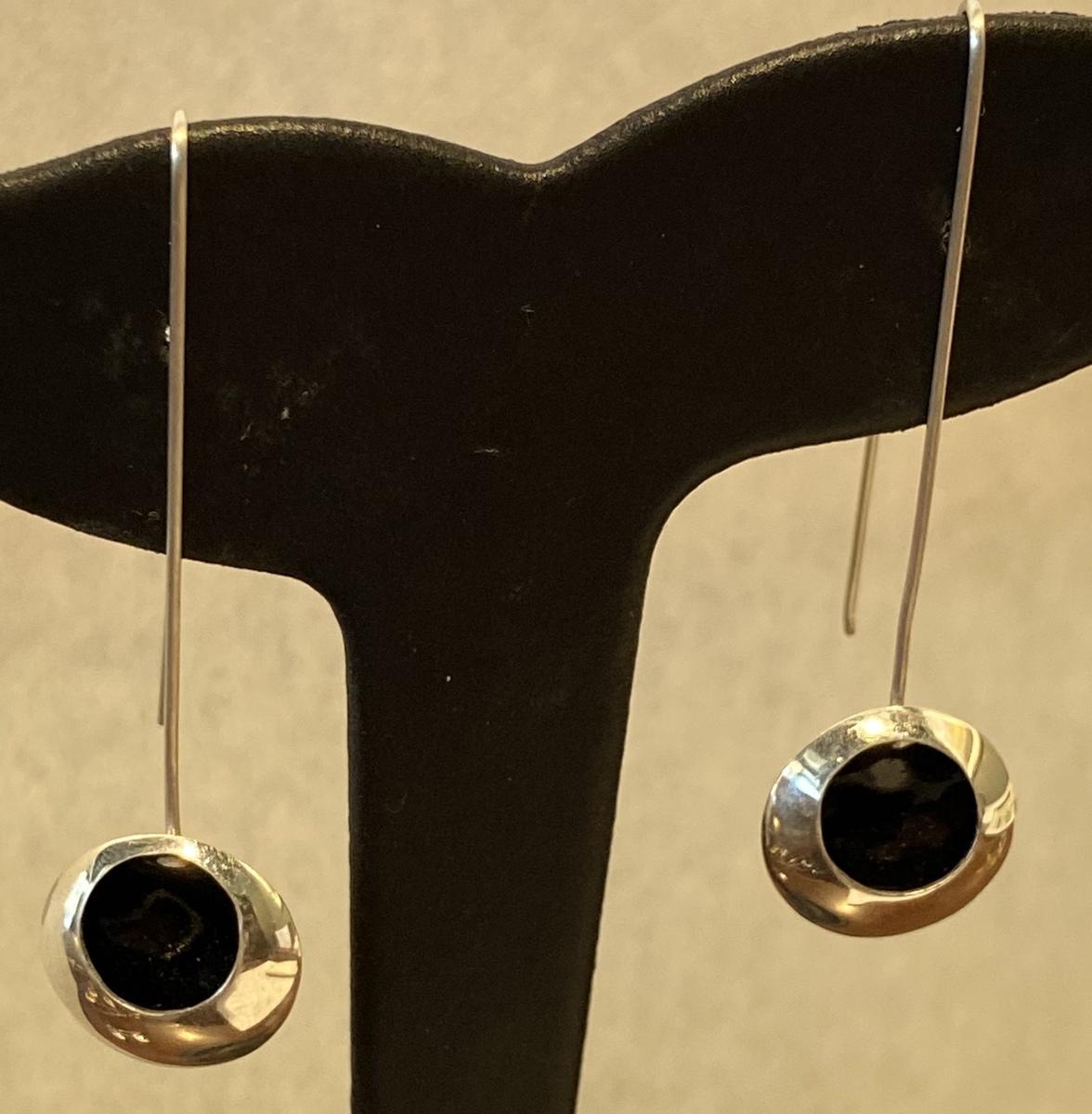 Long BLACK enamel drop earrings