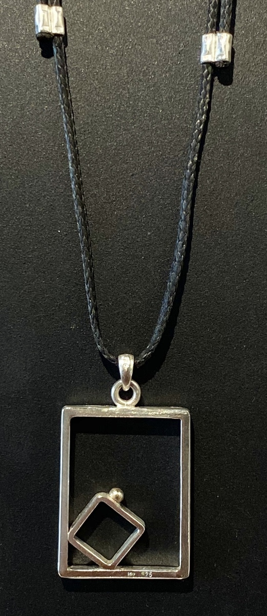 Square frame with gold ball pendant (large) - GOLD BALL SERIES
