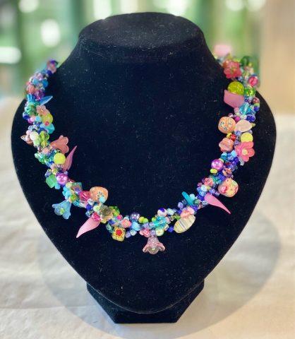 Multi colour (pink/blue) necklace