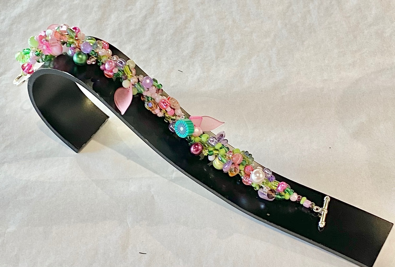 Multi colour (pink/green) narrow band bracelet