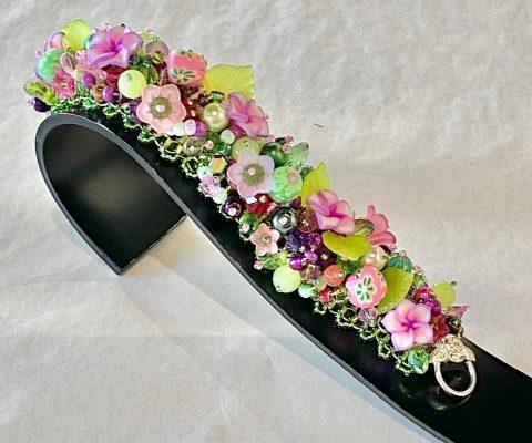Multi colour (pink/green) wide band bracelet