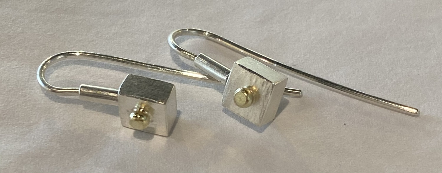 Square and dangling earrings (sm)